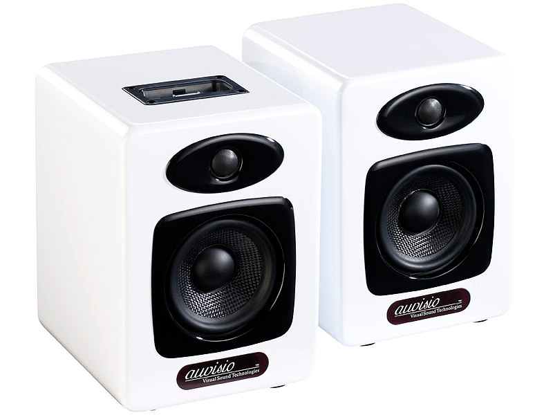 auvisio design stereo lautsprecher mit dock f r ipod. Black Bedroom Furniture Sets. Home Design Ideas