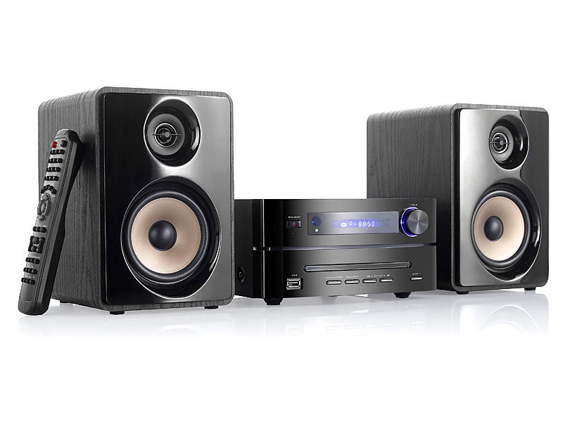 auvisio hifi micro stereoanlage bluetooth dvd cd usb fm. Black Bedroom Furniture Sets. Home Design Ideas