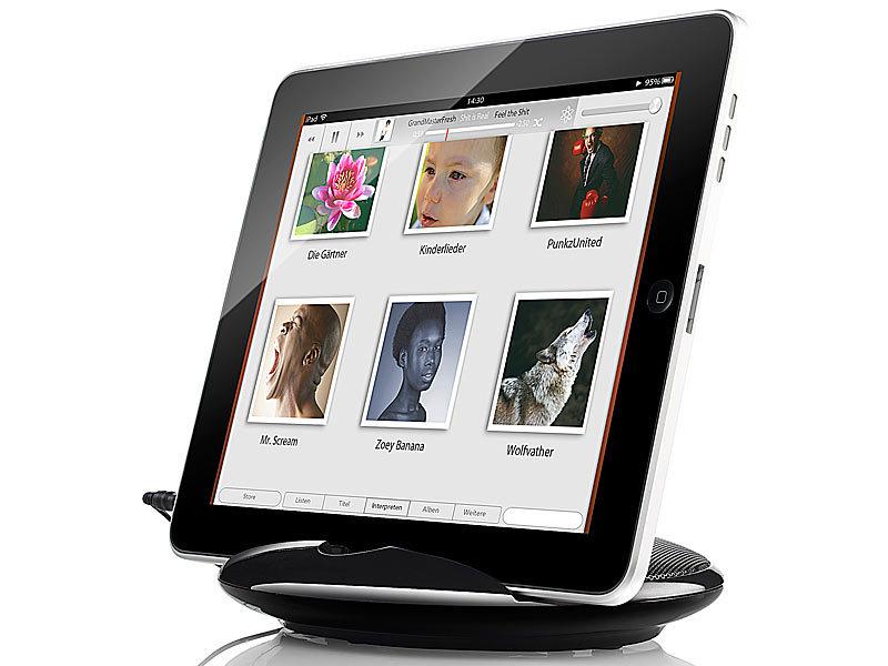 auvisio 2in1 st nder mit lautsprecher sml 195 f r ipad tablet pc uvm. Black Bedroom Furniture Sets. Home Design Ideas