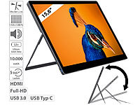 "auvisio Mobiler Akku-Full-HD-IPS-Monitor, 39,6 cm (15,6""), USB Typ C, HDMI; Ultradünner Full-HD-Monitore Ultradünner Full-HD-Monitore Ultradünner Full-HD-Monitore Ultradünner Full-HD-Monitore"
