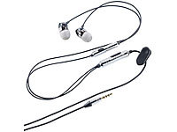 "auvisio Aluminium-Stereo-Headset ""Premium-Sound"" mit Mikrofon; In-Ear-Stereo-Headsets mit Bluetooth"