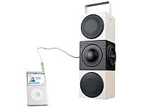 auvisio Portable Aktiv-Soundbox mit USB & SD-Card-Player & Power-Akku; Mobiler Stereo-Lautsprecher mit Bluetooth