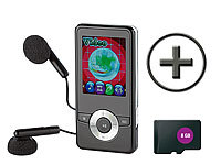 "auvisio MP3 & Video-Player ""DMP-320.m"" mit UKW-Radio + 8 GB microSD; In-Ear-Stereo-Headsets mit Bluetooth"