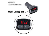 auvisio FM-Transmitter & Freisprecher mit Bluetooth, USB-Ladeport, 2,1 Ampere
