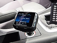 auvisio Bluetooth-Freisprecher & FM-Transmitter mit TFT & Videoplayer