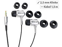 "auvisio Premium-Stereo-Ohrhörer ""Bass Tube"" 2,5-mm-Klinkenstecker; In-Ear-Stereo-Headsets mit Bluetooth In-Ear-Stereo-Headsets mit Bluetooth"