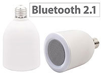 auvisio Lautsprecher-LED-Lampe E27, 6/8 Watt mit Bluetooth-Speaker