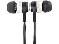 auvisio In-Ear-Stereo-Headset mit Magnetverschluss und Flachkabel; In-Ear-Stereo-Headsets mit Bluetooth In-Ear-Stereo-Headsets mit Bluetooth