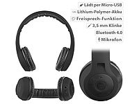 auvisio Faltbares On-Ear-Headset mit Bluetooth 4.0 und Audio-Eingang, schwarz; In-Ear-Stereo-Headsets mit Bluetooth