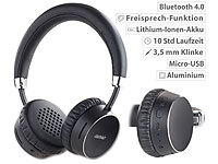 auvisio Premium-Bluetooth 4.0-On-Ear-Headset im Alu-Gehäuse, Echtleder