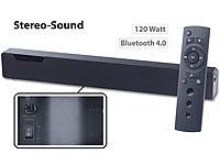 auvisio Stereo-Soundbar mit Bluetooth 4.0, 2 integr. Subwoofern, DSP, 120 Watt