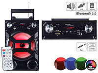 auvisio Mobile Akku-Partyanlage, Bluetooth, Karaoke-Funktion, USB, SD, 30 Watt