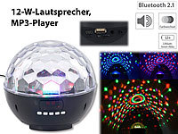 auvisio Mobile Discokugel m. Bluetooth, 12-W-Lautsprecher, MP3-Player, 1200mAh