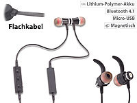 auvisio Magnetisches In-Ear-Stereo-Headset, BT 4.1, Multipoint & Auto-Connect