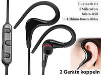 auvisio In-Ear-Sport-Headset m. Bluetooth 4.1, Multipoint & Kabelfernbedienung