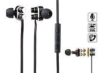 auvisio In-Ear-Headset mit 2x 2 Membranen & 3-Tasten-Bedienteil, 3,5-mm-Klinke; In-Ear-Stereo-Headsets mit Bluetooth In-Ear-Stereo-Headsets mit Bluetooth In-Ear-Stereo-Headsets mit Bluetooth In-Ear-Stereo-Headsets mit Bluetooth