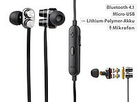 auvisio In-Ear-Headset mit Bluetooth 4.1, 2x 2 Membranen & 3-Tasten-Bedienteil