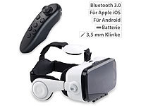 auvisio Virtual-Reality-Brille mit Headset & Game-Controller im Set, Bluetooth; Virtual-Reality-Brillen für Smartphones Virtual-Reality-Brillen für Smartphones Virtual-Reality-Brillen für Smartphones Virtual-Reality-Brillen für Smartphones