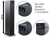 auvisio 2.1-Multiroom-Turmlautsprecher m. WiFi, Bluetooth, USB-Anschluss, 160W