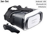 auvisio Virtual-Reality-Brille für Smartphones + 2in1-Mini-Game-Controller