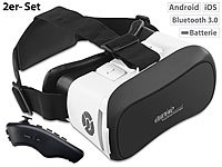 auvisio Virtual-Reality-Brille mit Bluetooth und 2in1-Mini-Game-Controller; Mobiler Stereo-Lautsprecher mit Bluetooth Mobiler Stereo-Lautsprecher mit Bluetooth Mobiler Stereo-Lautsprecher mit Bluetooth