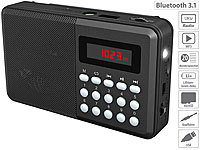 auvisio FM-Taschenradio, Bluetooth, MP3-Player, Display, USB, microSD & Akku