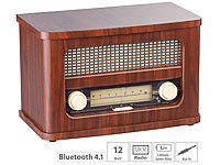 auvisio Nostalgisches Stereo-FM-Radio 12W, Holz, Akku, Bluetooth, USB Ladeport; MP3-Soundstations MP3-Soundstations MP3-Soundstations