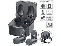 auvisio True Wireless In-Ear-Headset mit Powerbank-Etui, 7,5 Std. Spielzeit; In-Ear-Stereo-Headsets mit Bluetooth In-Ear-Stereo-Headsets mit Bluetooth In-Ear-Stereo-Headsets mit Bluetooth In-Ear-Stereo-Headsets mit Bluetooth In-Ear-Stereo-Headsets mit Bluetooth