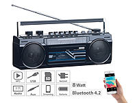 auvisio Retro-Boombox mit Kassetten-Player, Radio, USB, SD & Bluetooth, 8 Watt
