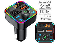 auvisio Kfz-FM-Transmitter mit Bluetooth 5, Freisprecher, MP3, 2 USB-Ladeports