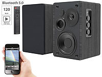 auvisio Aktives Stereo-Regallautsprecher-Set, Holz-Gehäuse, Bluetooth 5, 120 W