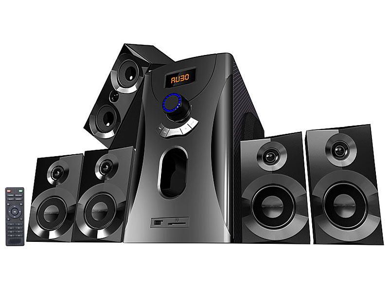 auvisio home theater surround sound system 5 1 mp3 radio 80 w refurbished. Black Bedroom Furniture Sets. Home Design Ideas