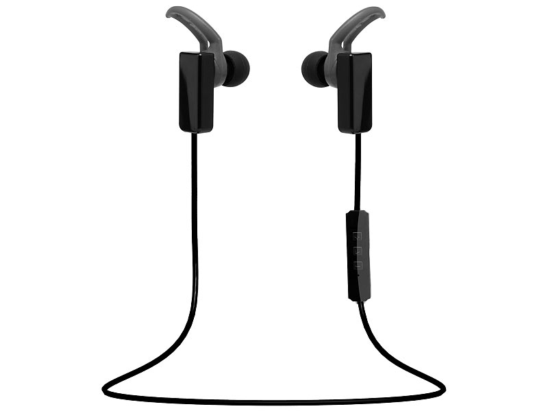 auvisio Bluetooth-4.1-Sport-Headset, In-Ear; Kopfhörer, Kopfhörer, Ohrhörer, Headsets, Mikrofone Kopfhörer, Kopfhörer, Ohrhörer, Headsets, Mikrofone Kopfhörer, Kopfhörer, Ohrhörer, Headsets, Mikrofone