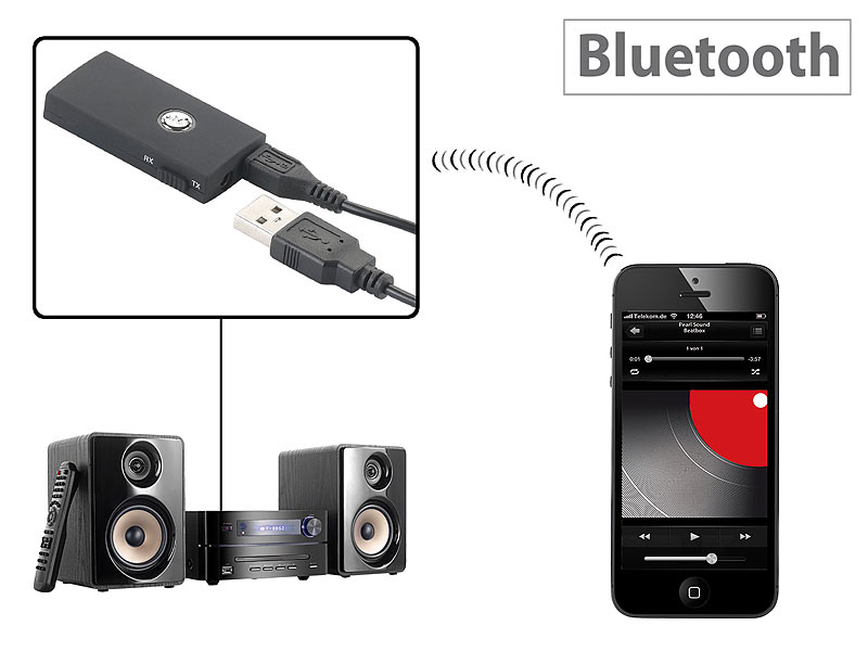 auvisio 2in1 audio sender und empf nger mit bluetooth 3 0 10 m reichweite. Black Bedroom Furniture Sets. Home Design Ideas