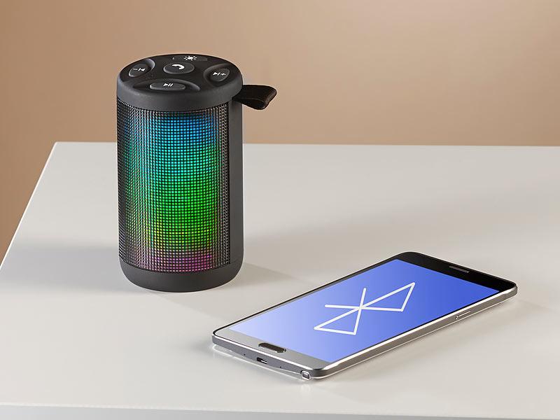 auvisio lautsprecher mp3 player mit bluetooth radio lichtimpulsen 6 watt. Black Bedroom Furniture Sets. Home Design Ideas