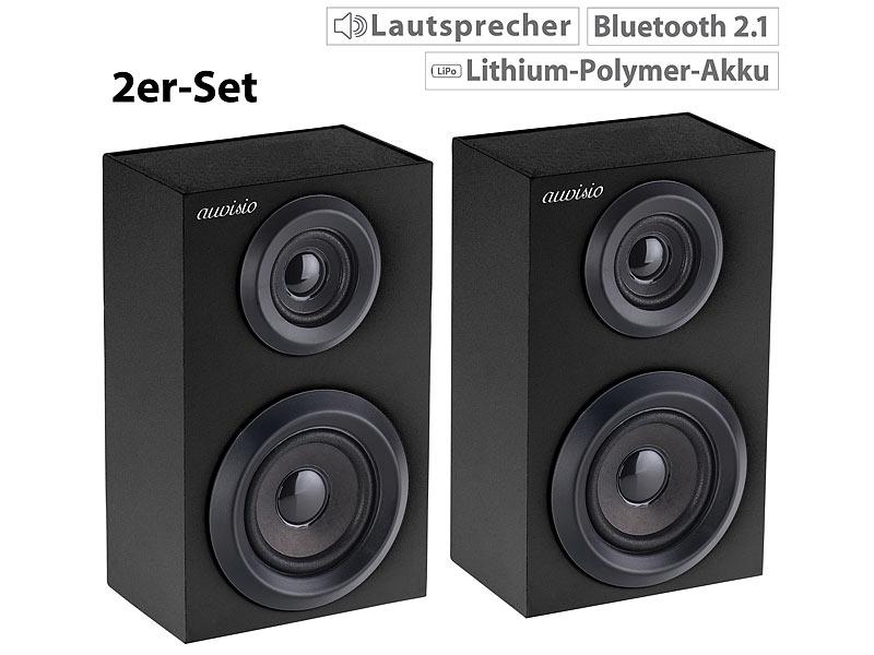 auvisio 2er set stereo regal lautsprecher bluetooth holzgeh use 2x 10 watt. Black Bedroom Furniture Sets. Home Design Ideas