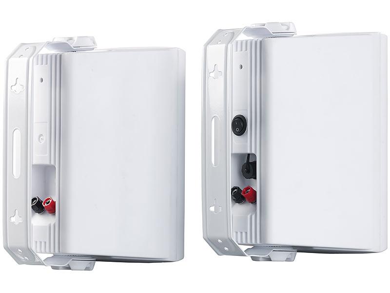 Auvisio Aktiv-Multiroom-Stereo-Außen-Lautsprecher, WLAN