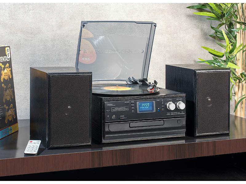 auvisio 5in1-Plattenspieler mit DAB+/FM-Radio, Bluetooth
